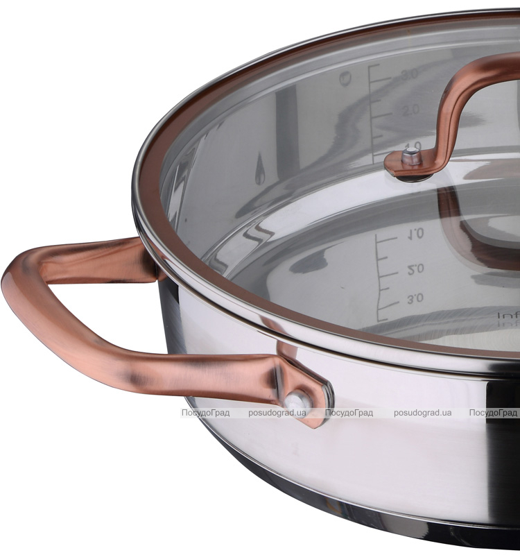 Сотейник Bergner Infinity Chefs Ø28см со стеклянной крышкой (3.8л)
