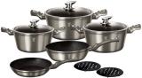 Набір кухонного посуду Berlinger Haus Carbon 10 предметів, мармурове антипригарне покриття