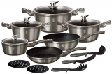 Набор кухонной посуды Berlinger Haus Carbon 15 предметов, мраморное антипригарное покрытие