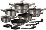 Набір кухонного посуду Berlinger Haus Carbon 15 предметів, мармурове антипригарне покриття