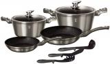 Набір кухонного посуду Berlinger Haus Carbon 9 предметів, мармурове антипригарне покриття