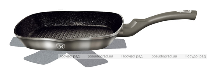 Сковорода-гриль Berlinger Haus Carbon 28х28см, мраморное антипригарное покрытие