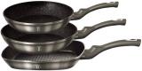 Набор 3 сковороды Berlinger Haus Carbon Ø20см, Ø24см, сковорода-гриль 28х28см, мраморное антипригарное покрытие