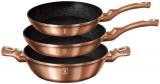 Набір 2 сковороди і сотейник Berlinger Haus Rose Gold Ø20см, Ø24см і Ø28см (3.8л), індукційні з антипригарним покриттям