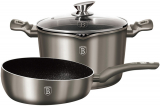 "Набір посуду Berlinger Haus Carbon каструля 6л з кришкою-друшляком і сковорода ""Шеф-кухар"" Ø26см"