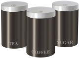 Набор банок Berlinger Haus Carbon 3 банки Ø11х17.8см из нержавеющей стали для кофе, чая и сахара