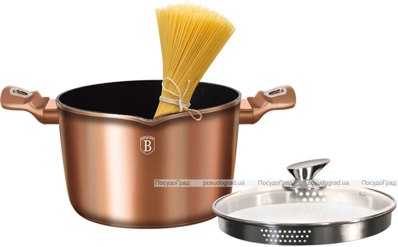 Кастрюля Berlinger Haus Rose Gold 6л с крышкой-дуршлаг и носиком для слива, индукционная с антипригарным покрытием