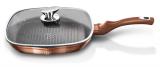 Сковорода-гриль Berlinger Haus Rose Gold 28х28см с крышкой, индукционная с антипригарным покрытием