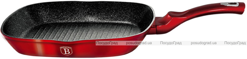 Сковорода-гриль Berlinger Haus Black Burgundy 28х28х4.1см, мраморное покрытие