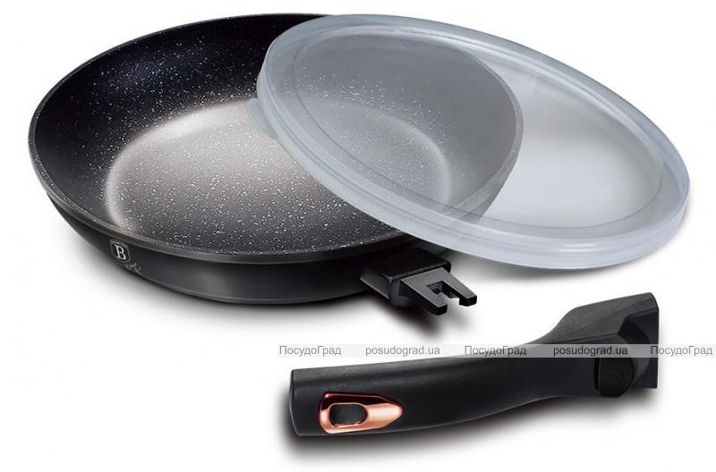 Сковорода Berlinger Haus Black Rose Ø24х4.8см с мраморным покрытием и пластиковой крышкой