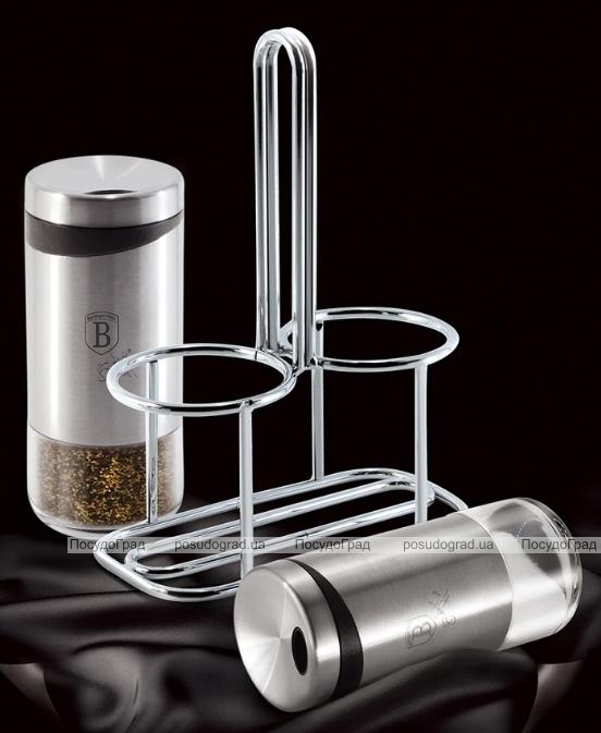 Набір для спецій Berlinger Haus Black Silver сільничка і перечниця на металевій підставці