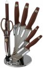 Набор ножей Berlinger Haus Granit Diamond Brown 7 предметов на веерной подставке
