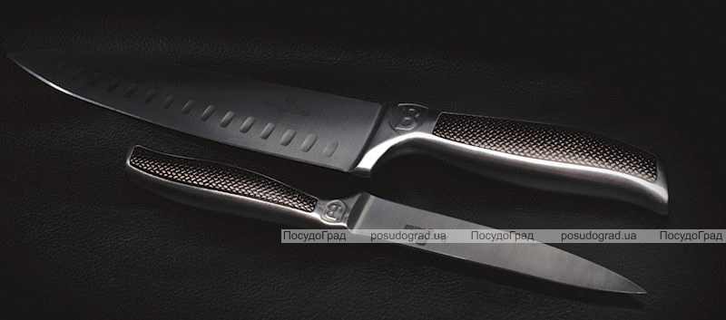 Набор 5 кухонных ножей Berlinger Haus Kikoza Brown на деревянной подставке