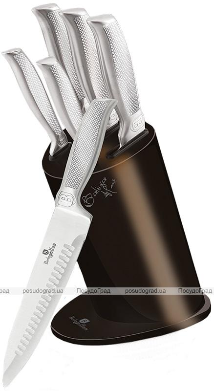 Набор 5 кухонных ножей Berlinger Haus Kikoza Dark Brown на подставке из нержавеющей стали