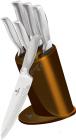 Набор 5 кухонных ножей Berlinger Haus Kikoza Gold на подставке из нержавеющей стали