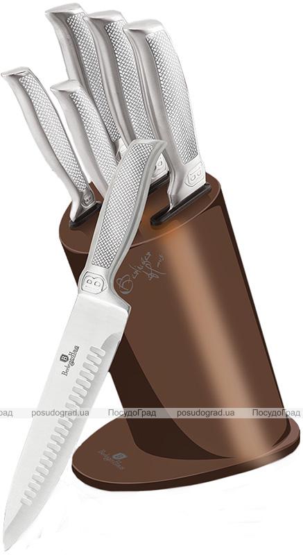 Набор 5 кухонных ножей Berlinger Haus Kikoza Brown на подставке из нержавеющей стали