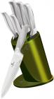 Набор 5 кухонных ножей Berlinger Haus Kikoza Olive на подставке из нержавеющей стали