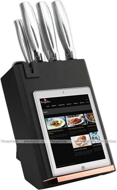 Набор кухонных ножей Berlinger Haus Black Rose 6 предметов на подставке с держателем для смартфона