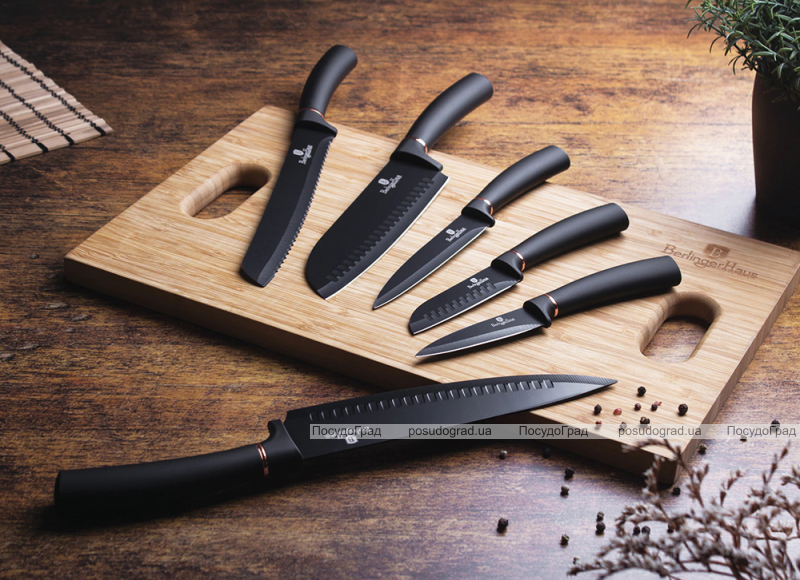 Набор 6 кухонных ножей Berlinger Haus Black Rose (2414) с алмазным покрытием