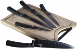 Набор 5 кухонных ножей Berlinger Haus Black Silver и бамбуковая доска
