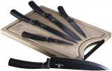 Набір 5 кухонних ножів Berlinger Haus Black Silver та бамбукова дошка