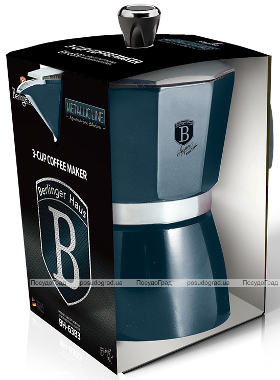 Кавоварка гейзерна Berlinger Haus Aquamarine Edition на 3 чашки