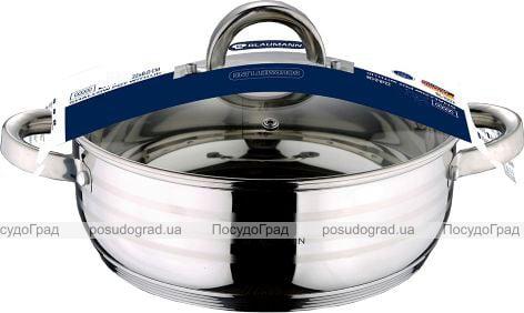 Каструля Blaumann Gourmet 2.75л Ø22х8см з нержавіючої сталі зі скляною кришкою (1002)