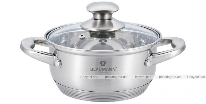 Каструля Blaumann Gourmet 2л Ø20х7см з нержавіючої сталі зі скляною кришкою