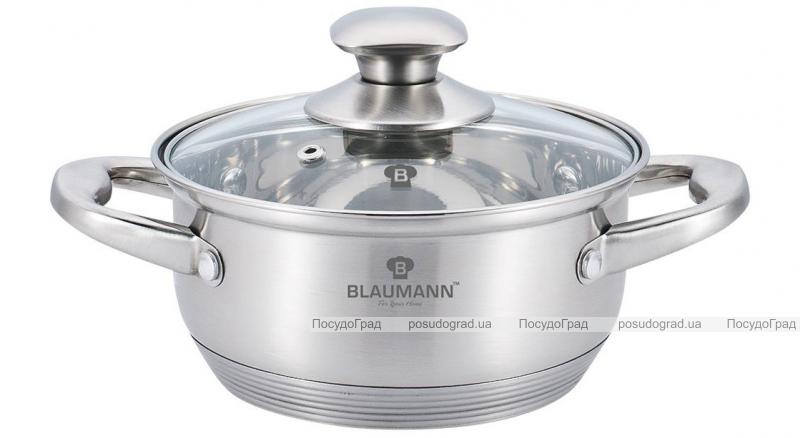 Каструля Blaumann Gourmet 2.75л Ø22х8см з нержавіючої сталі зі скляною кришкою
