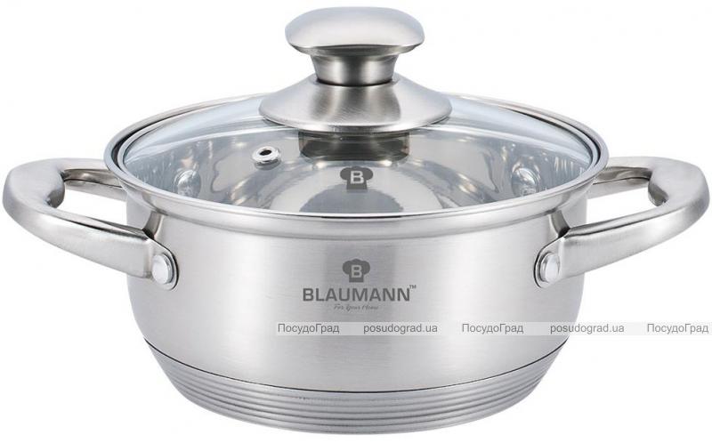 Каструля Blaumann Gourmet 5л Ø26х10см з нержавіючої сталі зі скляною кришкою
