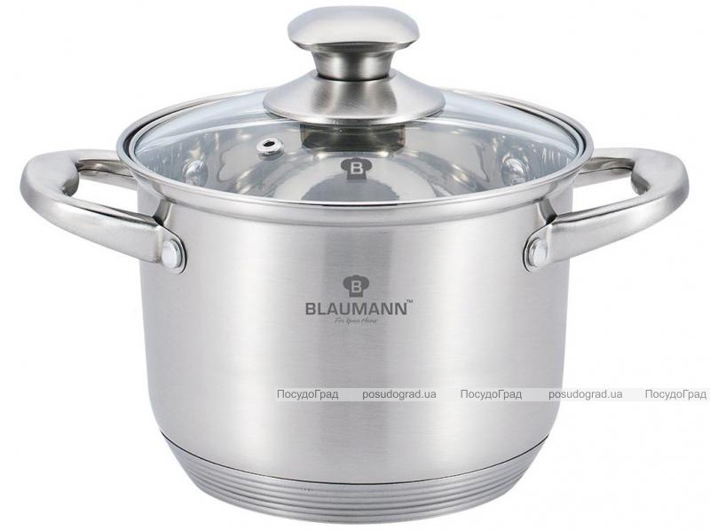 Каструля Blaumann Gourmet 4.3л Ø20х14.5см з нержавіючої сталі зі скляною кришкою