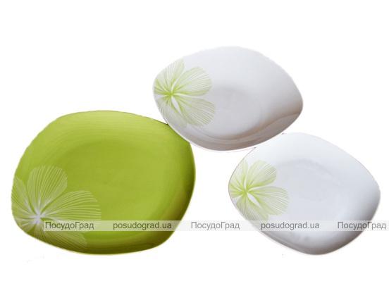 """Набор тарелок """"Зеленый с цветком"""" 18 предметов на 6 персон"""