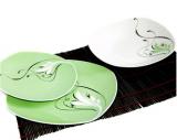 """Набір тарілок """"Зелений з хвилею"""" 18 предметів на 6 персон"""