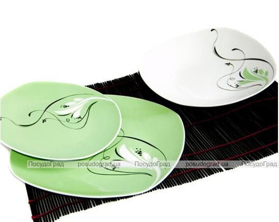 "Набор тарелок ""Зеленый с волной"" 18 предметов на 6 персон"