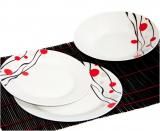 """Набір тарілок """"Абстракція червоно-чорний малюнок"""" 18 предметів на 6 персон"""