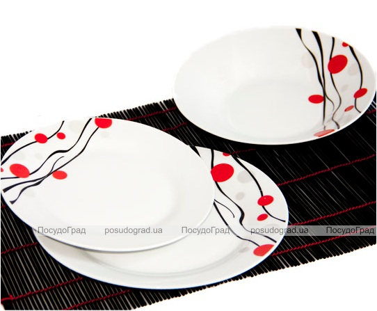 """Набор тарелок """"Абстракция красно-чёрный рисунок"""" 18 предметов на 6 персон"""