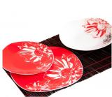 """Набір тарілок """"Червоно-біла квітка"""" 18 предметів на 6 персон"""
