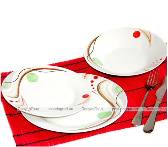 """Набор тарелок """"Абстракция круги"""" 18 предметов на 6 персон"""