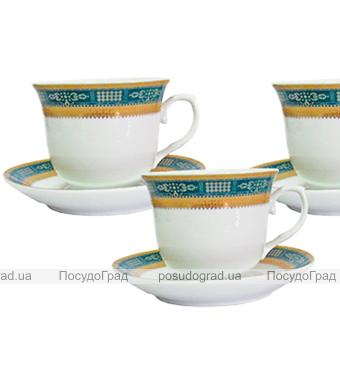 """Чайный сервиз Da Vinci 220мл 12 предметов """"Зеленый орнамент"""""""