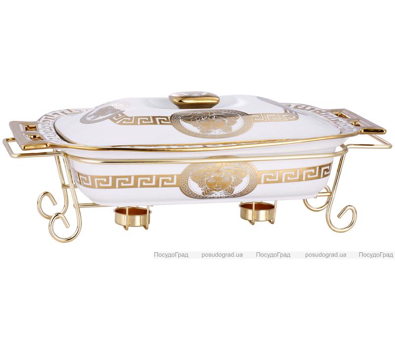 Мармит DaVinci 2,4л фарфор с золотым декором, прямоугольный