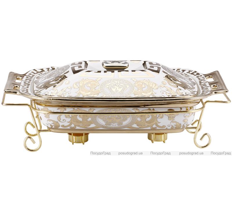 Мармит DaVinci 3л фарфор с золотым декором II, прямоугольный
