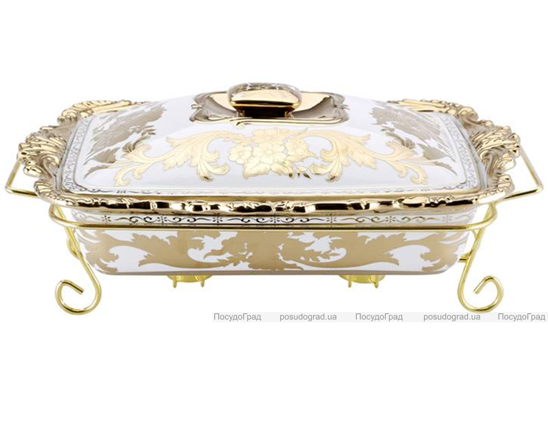 Мармит DaVinci 2,5л фарфор с золотым декором III, прямоугольный