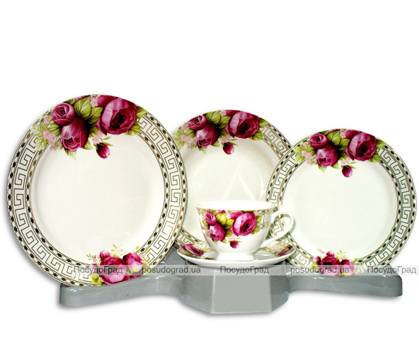 Столовый набор Greek Ornament With Pink Rose Round 30 предметов на 6 персон