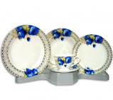 Столовый набор Greek Ornament With Blue Rose Round 30 предметов на 6 персон