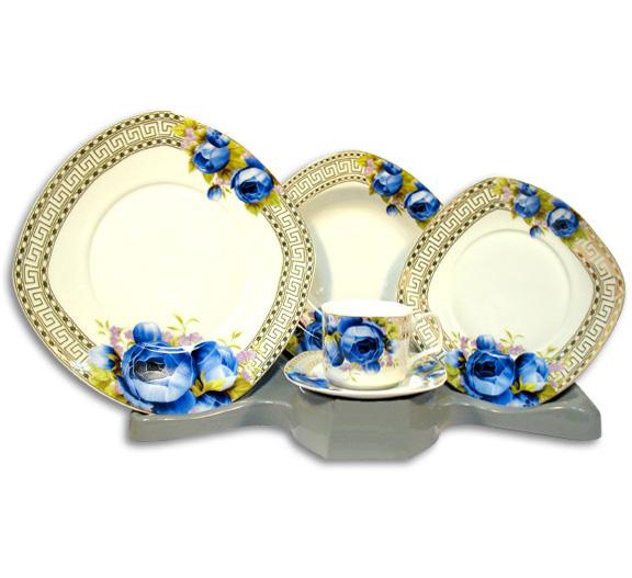 Столовый набор Greek Ornament With Blue Rose 30 предметов на 6 персон