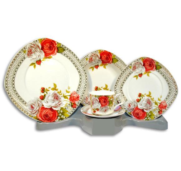 Столовый набор Greek Ornament With Red and White Roses 30 предметов на 6 персон