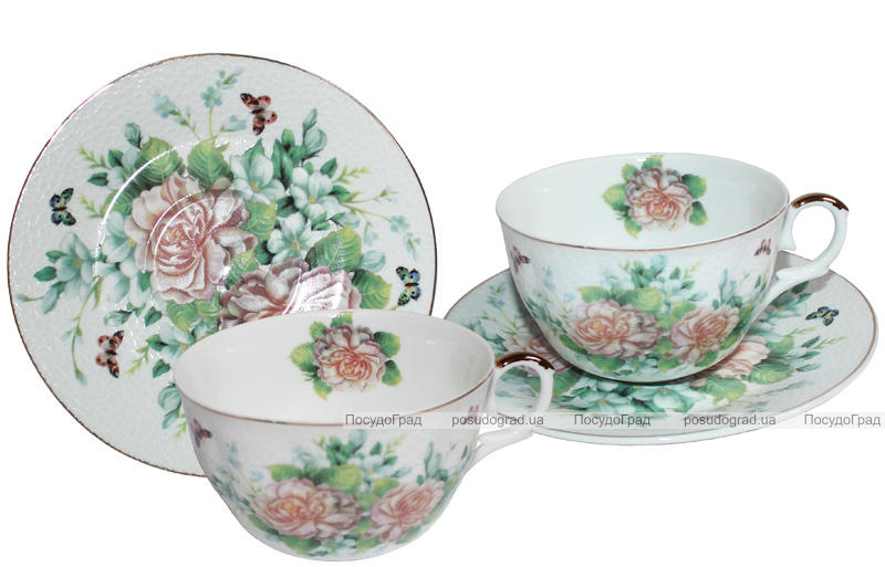 """Чайный сервиз Elit """"Чайная роза"""" костяной фарфор на 6 персон"""