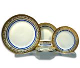 Столовый набор Elina Gold with a Blue Band 30 предметов на 6 персон