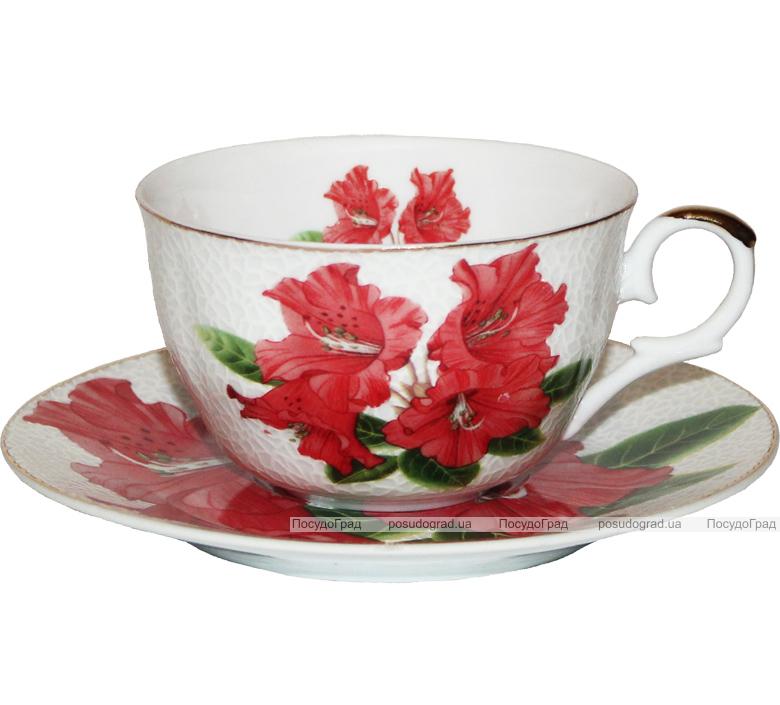 """Чайный сервиз Elit """"Красный гладиолус"""" костяной фарфор 250мл на 6 персон"""