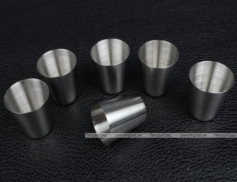 Набір 6 дорожніх сталевих стопок Empire 30мл в чорному чохлі